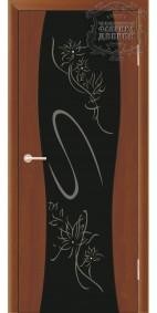 Межкомнатная дверь ДО Сириус с рисунком Кристал (черное,стразы) стойки-Ваза