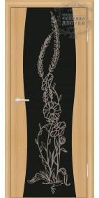 Межкомнатная дверь ДО Сириус с рисунком Цветы(черное)
