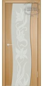 Межкомнатная дверь ДО Сириус с рисунком Линии(белое) стойки Волна