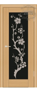 Межкомнатная дверь ДО Люкс 2 (черное)  с рисунком Сакура