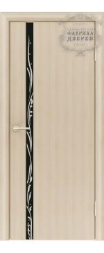Межкомнатная дверь ДО Стиль 1 узкое Рисунок Вьюн (черное,стразы)