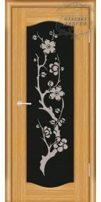 Межкомнатная дверь ДО Люкс 5 (черное) с рис.Сакура