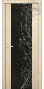 Межкомнатная дверь ДО Стиль с рис. Листья (черное)