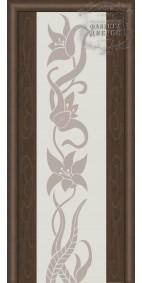 Межкомнатная дверь ДО Стиль Фиеста (белое) с рисунком лилия