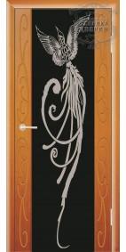 Межкомнатная дверь ДО Стиль Фиеста (черное)  с рисунком Жар-Птица